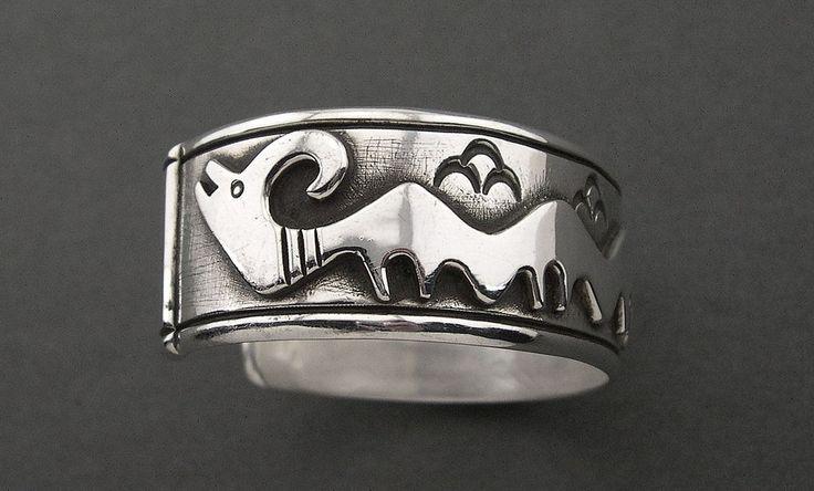 "Cippy Crazyhorse LARGE Avanyu Sterling Silver Ingot Bracelet 7-1/2"" ~ 3.0 oz."