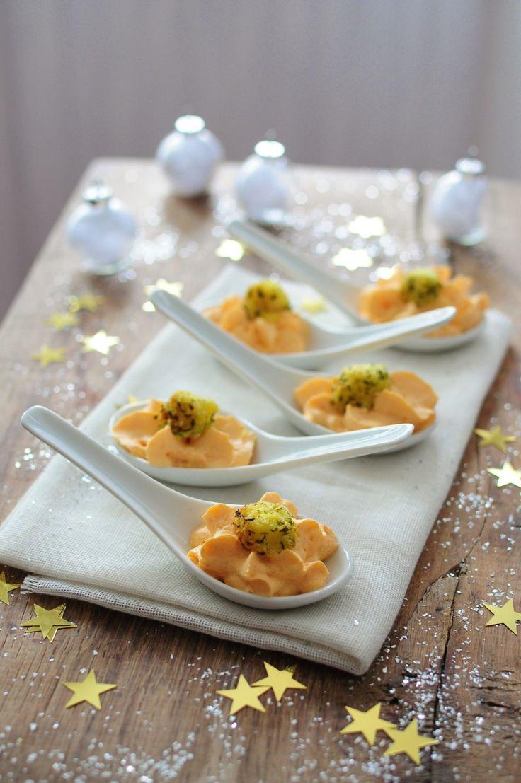 Mousse de chorizo et noix de St Jacques en cuillère