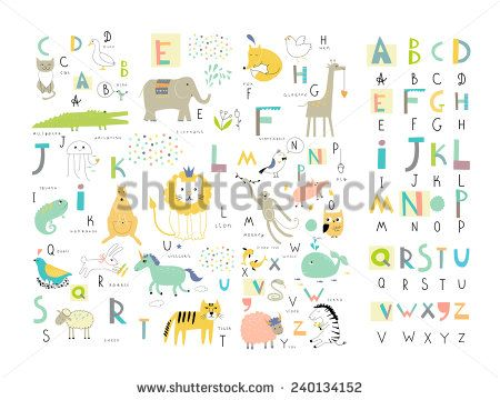 Cute zoo alphabet with funny animals in vector . Letters. Learn to read. Isolated.