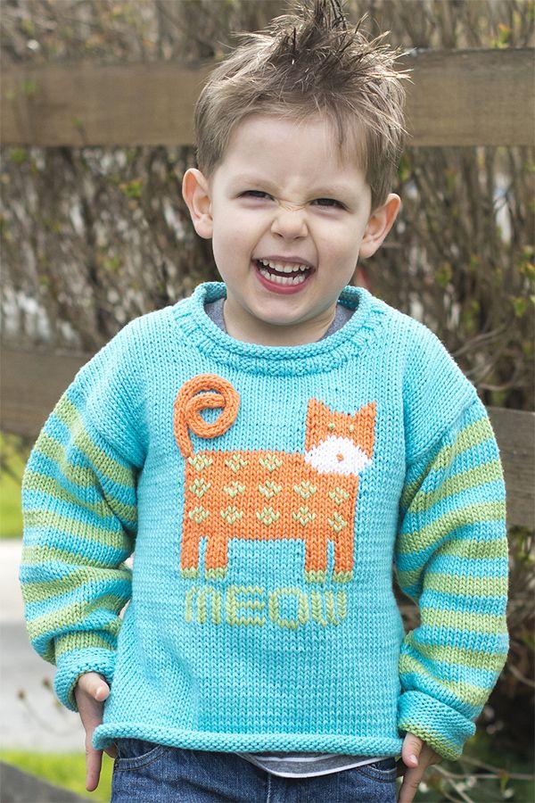 1d72d1da4 Free Knitting Pattern for Cat s Meow Pullover - Long-sleeved child s ...