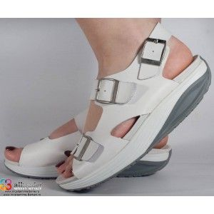 Sandale albe dr. Monte Bosco, piele, talpa convexa dama/dame/femei (cod W13A)