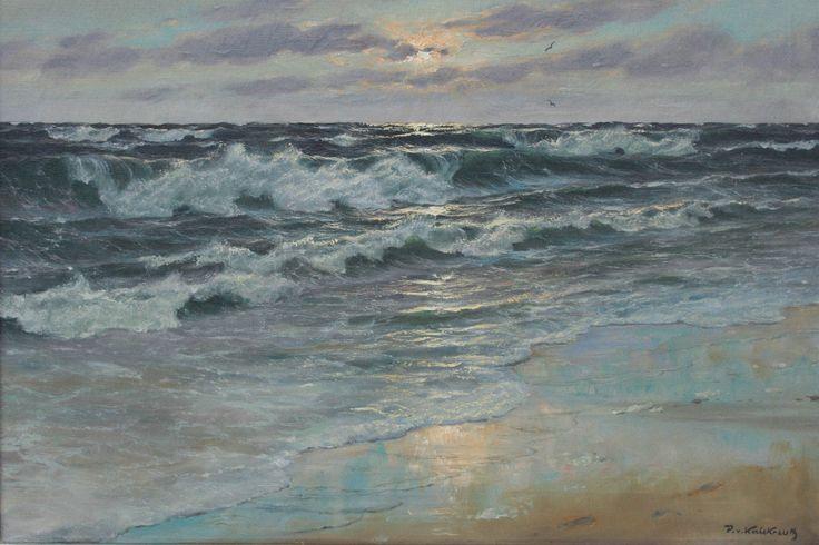 Patrick v. Kalckreuth Bild Gemälde Druck Ölgemälde Brandung Strand Wellen 30x45 | eBay