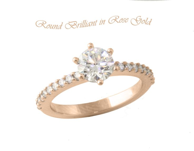 Beautiful Brilliant Diamond engagement ring in Rose Gold with diamond thread set band.