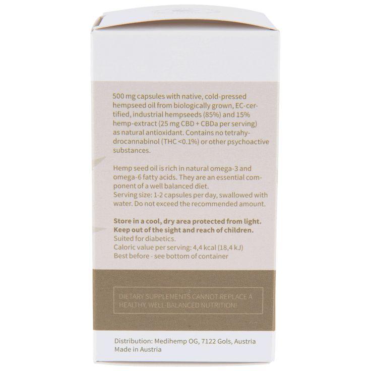 De biologische CBD capsules van Medihemp bevatten 85% hennepzaadolie en 15% hennep extract, verkregen door zachte CO2-extractie.