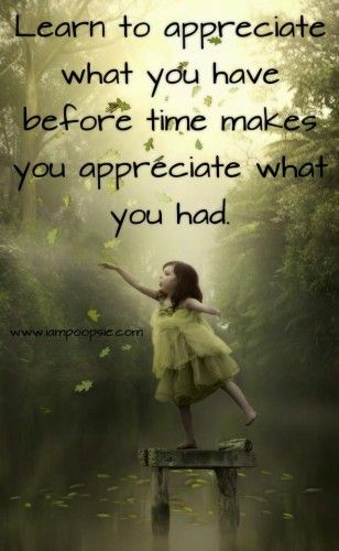 Learn to appreciate what you have before time makes you appreciate what you had.