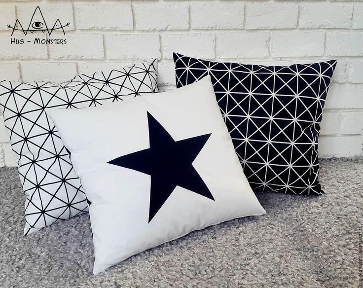 Купить Комплект стильных подушек - чёрно-белый, стильный подарок, стиль, звезда, звезды