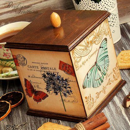 """A cozinha é feito à mão.  Mestres Fair - handmade.  Comprar uma caixa de doces, chá, ervas """"Borboletas"""" decoupage .. Handmade.  Conduto"""