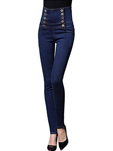 8b4e48610f0 Tomwell Femme Rétro Jeans Déchirés Trous à Taille Haute en Denim Skinny  Pantalons Slim Crayon Pantalon
