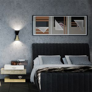 Sophia is a mid-century styled panel bed, with bonded velvet on the headboard and footboard, expertly stitched from the top to the bottom and accented with tufted brass buttons on both sides. It features square legs made of polished brass, which turn this bed into an inspiring design retro furniture piece.  See more: https://goo.gl/EXyxYs