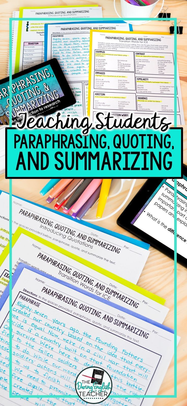 Paraphrase Quote Summarize Teach Your Student How To And S Teaching High School English Summarizing Lessons Motivational Activity For Paraphrasing