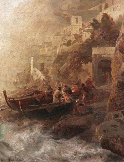 Oswald Achenbach - Fishermen Returning to the shores of Amalfi