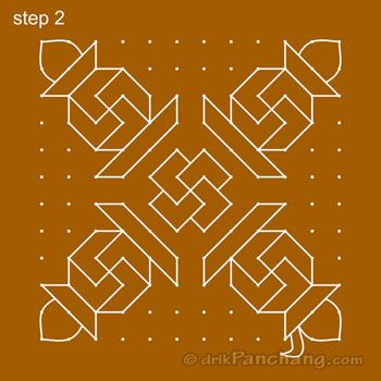 12x12 Dot Rangoli Step 2