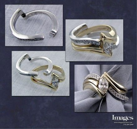 Hate the gold, but a wedding band like this opens a new type of style that I could be super into!