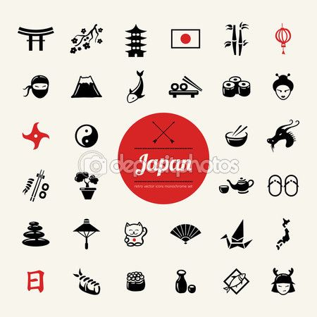 一组矢量平面设计日本图标 — Stock Illustration #54269549