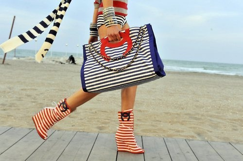 """Coco - """"""""The best color in the whole world, is the one that looks good, on you!""""Wedge Boots, Coco Chanel, Little Red, Fourth Of July, Red White Blue, Chanel Style, Stripes, Wedges Boots, Sailors Style"""