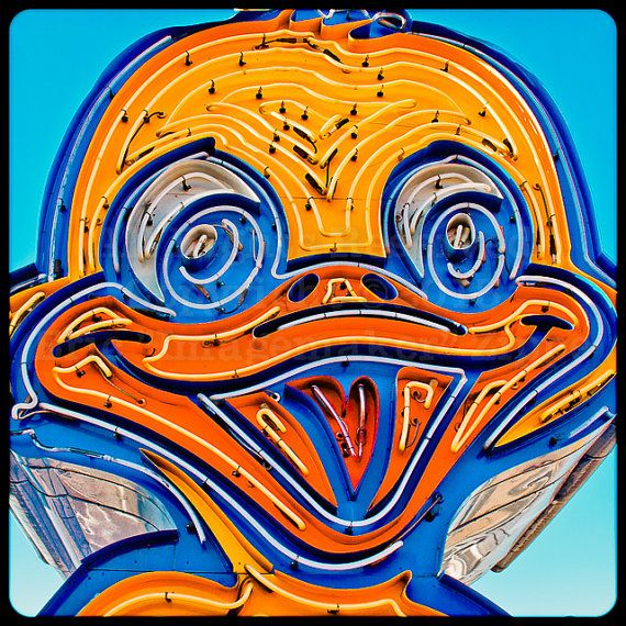 Las Vegas Art Neon Sign Yellow Duck Art by EricZippeImagemaker, $25.00