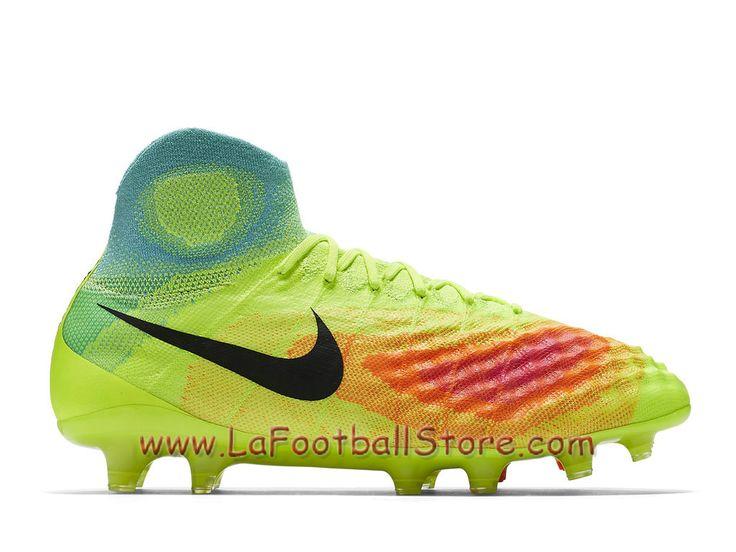 Nike Magista Obra II FG Chaussure Officiel Nike de football à crampons pour terrain sec pour Homme Volt/Total Orange