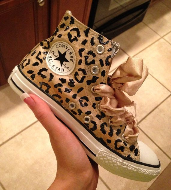 Cheetah Hand Painted Converse With Ribbon Custom by StellaAuer, $100.00