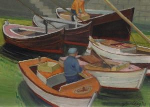 Ron Stenberg, 'Boat Scene' (2013) Oil on canvas, 300 x 400 mm, POA at the Remuera Gallery