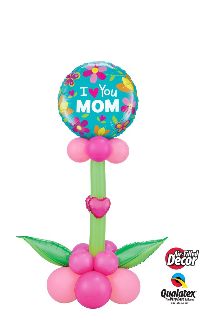 This pretty flower is created with balloons! It can be delivered or stand on the floor or the table as decor for Mother's Day. #qualatex #balloon #mothersday