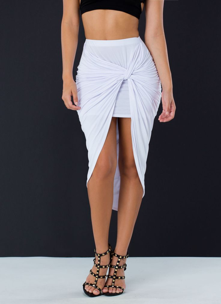 Sarong Number Knotted Draped Skirt WHITE BLACK OLIVE - GoJane.com