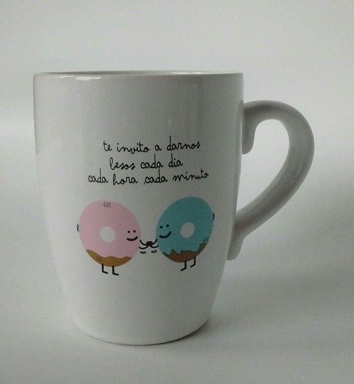 Taza de ceramica ...te invito a darnos besos