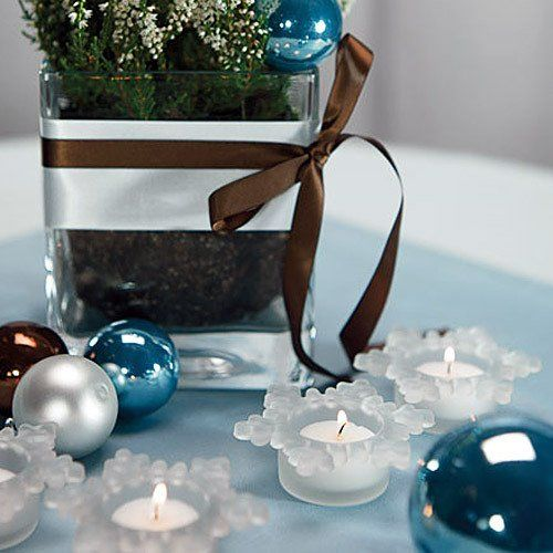 Frosted Glass Snowflake Tea Light Holders by Beau-coup