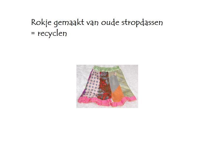 Stropdas rok voor kinderen maken is recyclen. Op de rommelmarkt of in de kast van vader, opa of je broer vind je vast wel leuk gekleurde