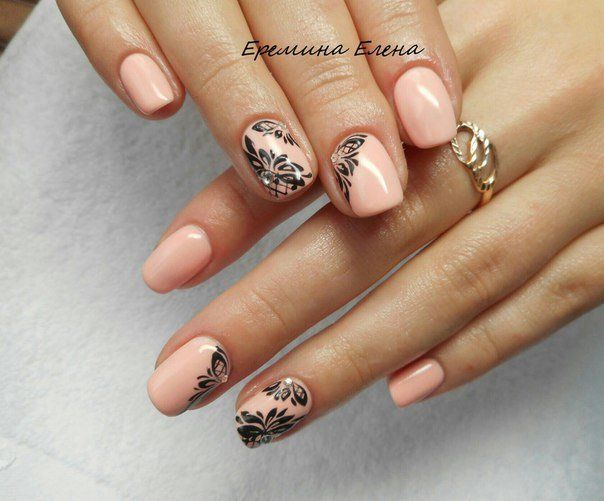 Black pattern nails, Evening dress nails, Everyday nails, Festive nails, Nailswith black pattern, Nails with rhinestones ideas, Nails with stickers, Office nails