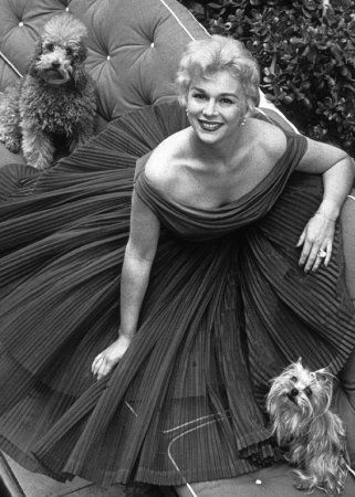 Eva Gabor with poodle and yorkie