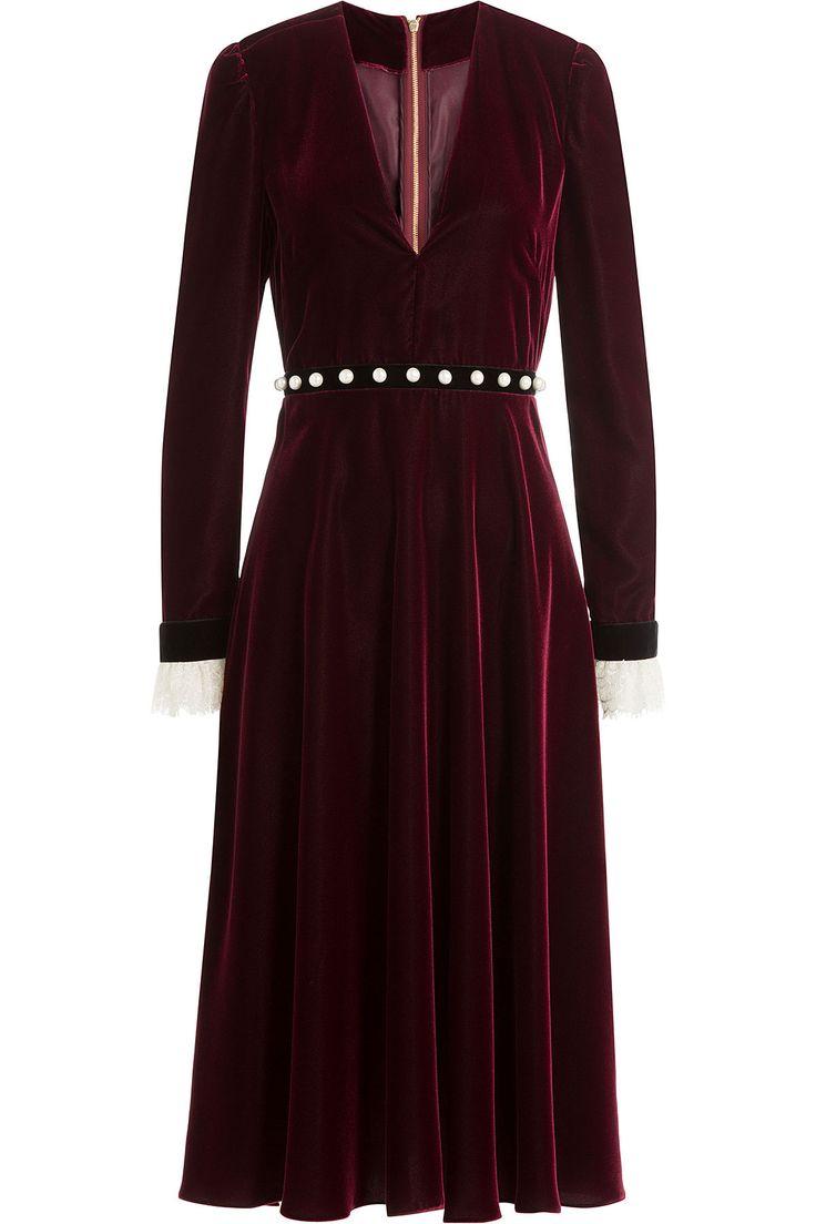 VelvetDresswithLaceandFauxPearlsfromPHILOSOPHYDILORENZOSERAFINI | Luxury fashion online | STYLEBOP.com