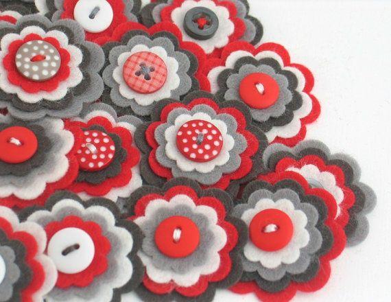 METRO 3 x Handmade Felt Flower Embellishments, Flower Applique, Handmade Felt Flower, Felt Embellishment, Felt Bloom, SHOP CLEARANCE Sale