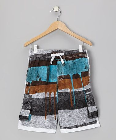 Take a look at this Brown Rugby Stripe Boardshorts - Boys by Banana Split on #zulily today!