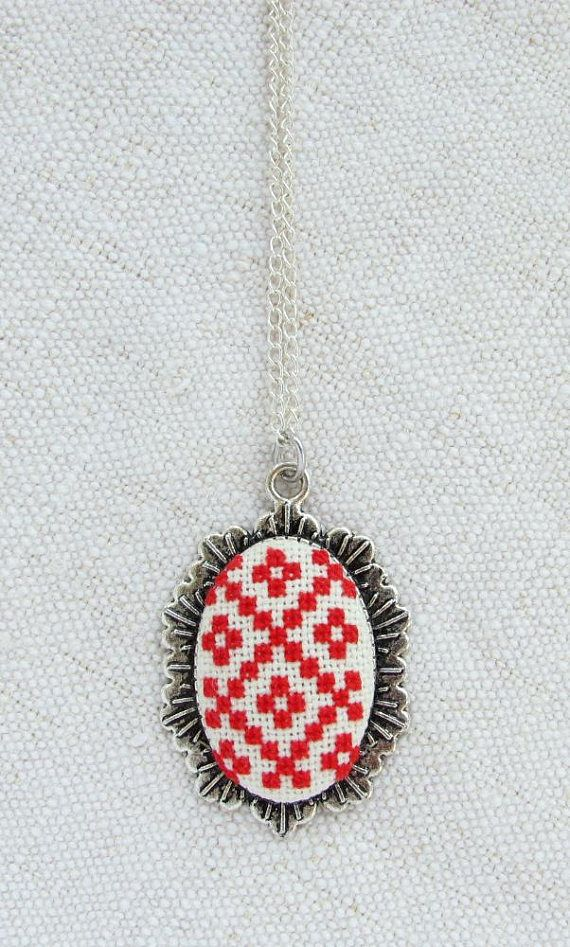 Red white necklace Festival accessories Bohemian necklace