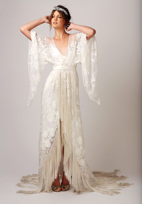 Love this so much! Boho gypsy yet elegant and romantic bridal gown with fringe                                                                                                                                                                                 More