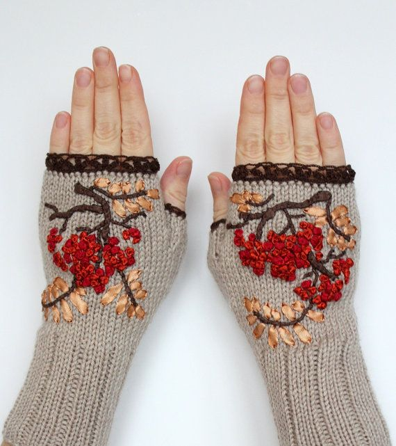 Knitted Fingerless Gloves, Rowanberry, Gloves And Mittens, Ribbon Embroidery, Grey, Red, Brown, Gift Ideas, For Her, Winter Accessories
