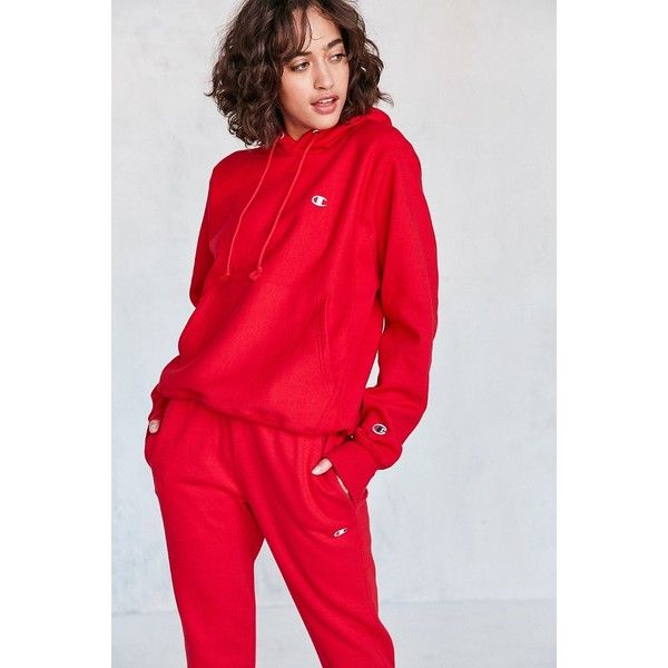 Champion + UO Reverse Weave Hoodie Sweatshirt ($65) ❤ liked on Polyvore featuring tops, hoodies, sleeve hoodie, red hooded sweatshirt, hooded pullover, reversible hoodie and champion hoodies