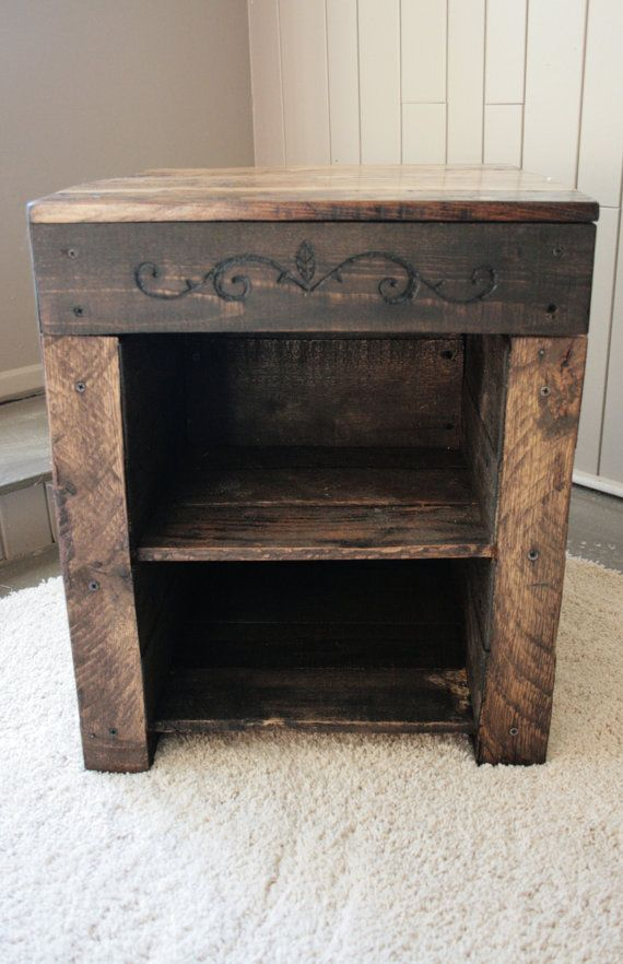 Hidden Compartment Pallet Wood Nightstand Table on Etsy, $200.00