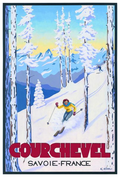 Courchevel 'Last run Down', which comes from the collection: 'Art Deco In The Alps II'. Artist: Katrine Köhli. Courchevel was in fact the location for the pre-credit sequence of the James Bond film Tomorrow Never Dies. Clearly it's a style icon of a resort.