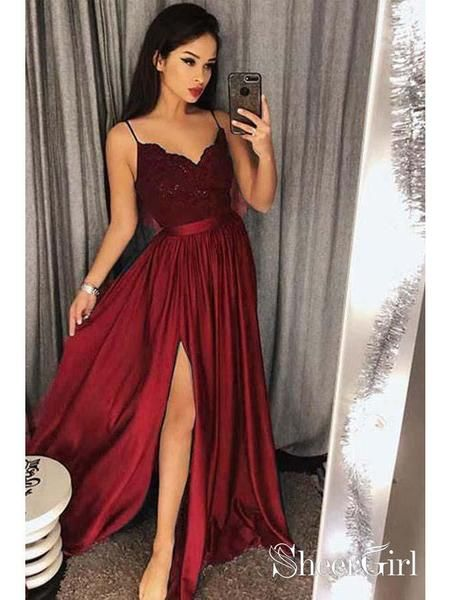 Spaghetti Strap Prom Dresses Long Lace V Neck Maxi High Split Evening Ball Gowns 2018 APD3264