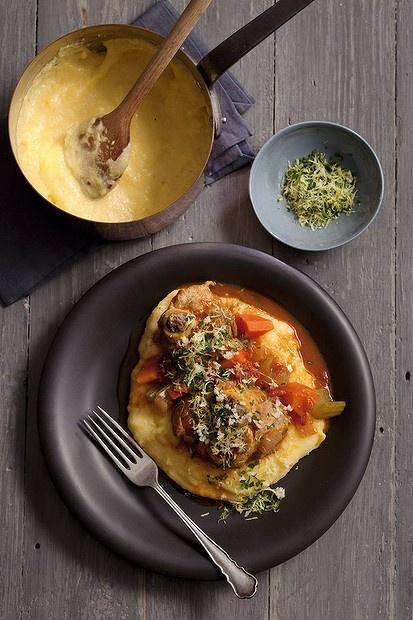 Jill Dupleix's osso buco with soft polenta. Photo by Marina Oliphant. Recipe: http://www.smh.com.au/lifestyle/cuisine/meat/recipe/osso-buco-20120709-21r7h.html?rand=1341819281151