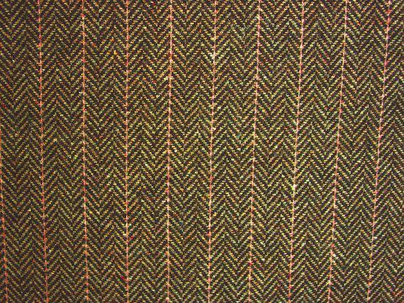 Bruin visgraat wol tweed stof door de meter strepen