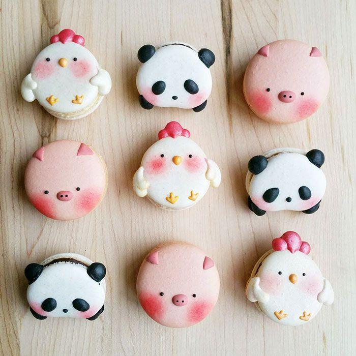 Veja opções diferentes e lindas de macarons para você fazer para sua festa. Macaron de unicórnio. porco, gato, urso panda e mais!