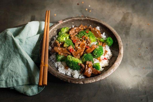 Mongolisches Rind mit Brokkoli und Jasminreis