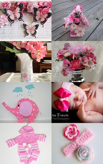 Pretty pink treasury featuring our Organic Cotton Candy Fat Quarter Fabric Bundle ♥