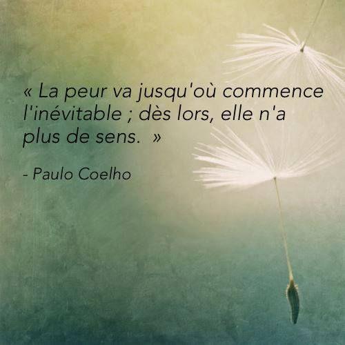 """"""" La #peur va jusqu'ou commence l'inévitable; dès lors, elle n'a pas de #sens """"  #Paulo_Coelho"""