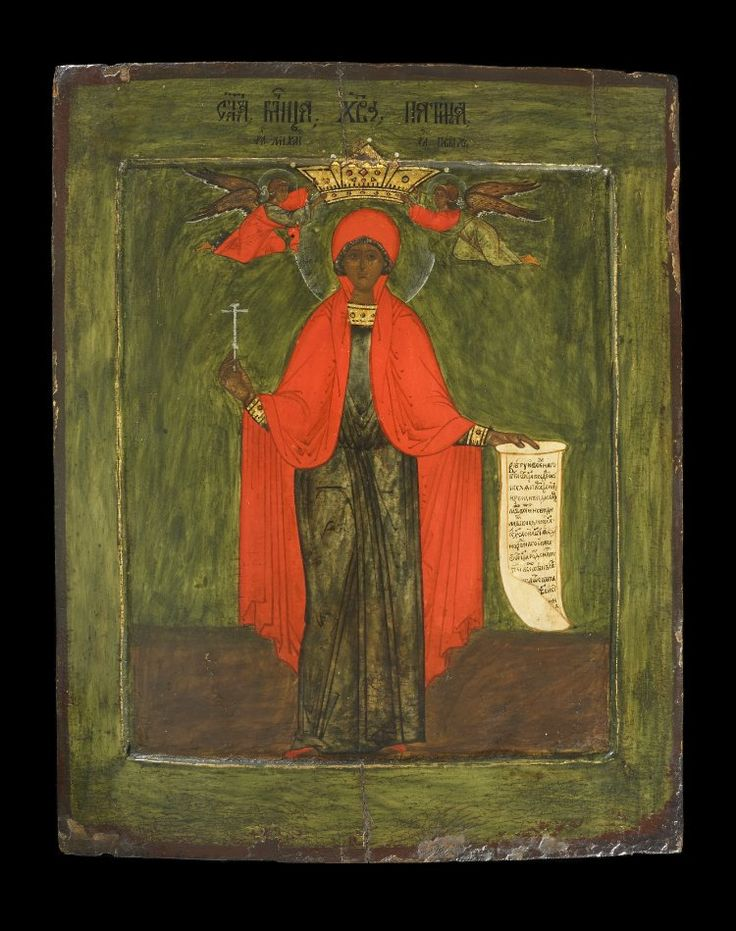 Icon painted in egg tempera with gilding on wood prepared with gesso. Subject: St Paraskevi-Pyatnitsa. The saint holds a cross and inscribed scroll; above her head, a jewelled crown held by two archangels (Gabriel and Michael).