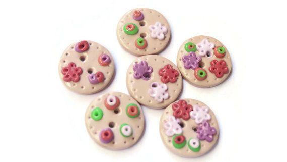 daisy buttons white rose handmade buttons от LittleHappyBoom