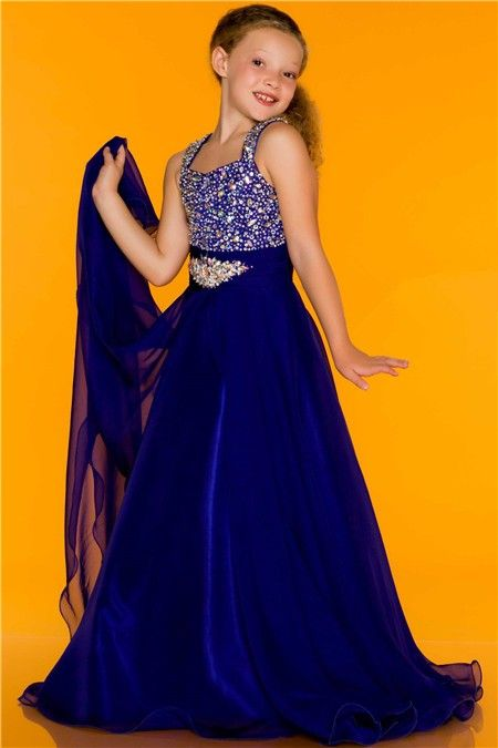A Line Princess Royal Blue Chiffon Beaded Little Flower Girl Evening Prom Dress