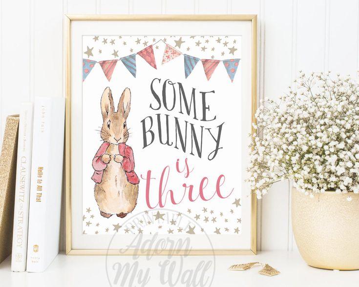 Some Bunny Is Three, Beatrix Potter, Third Birthday, Turning Three, Peter Rabbit, Birthday, Three Year Old, Birthday Party, Decor, Print, 3 by AdornMyWall on Etsy